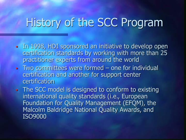 History of the scc program