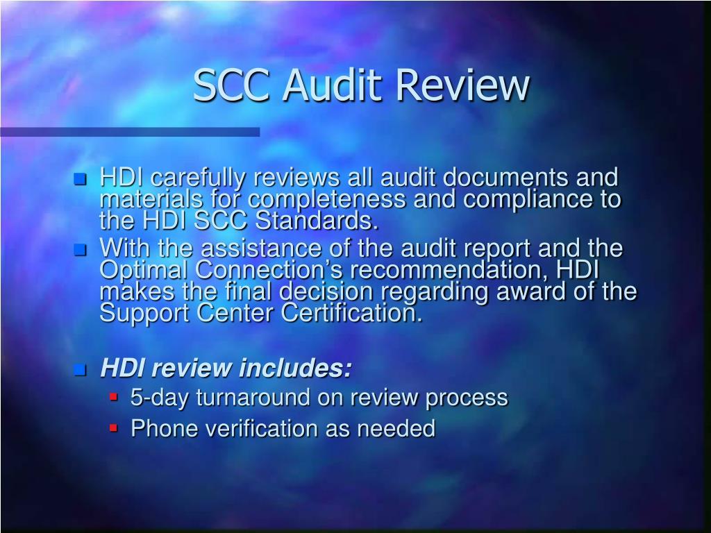 SCC Audit Review