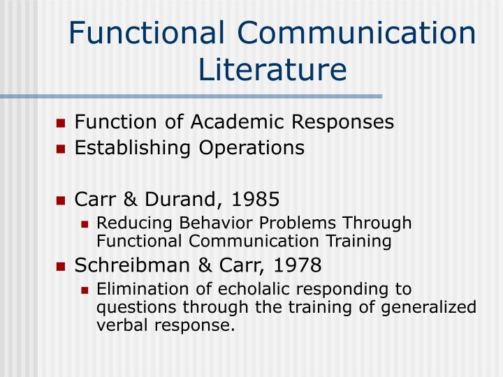 Functional communication literature