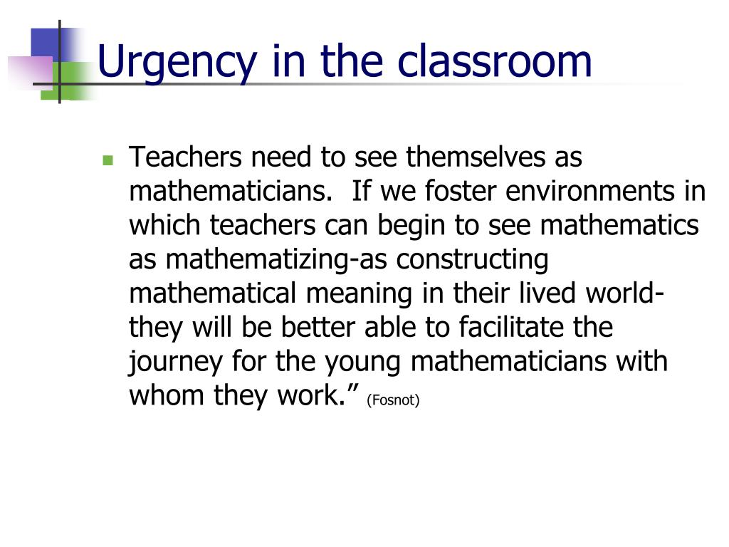 Urgency in the classroom