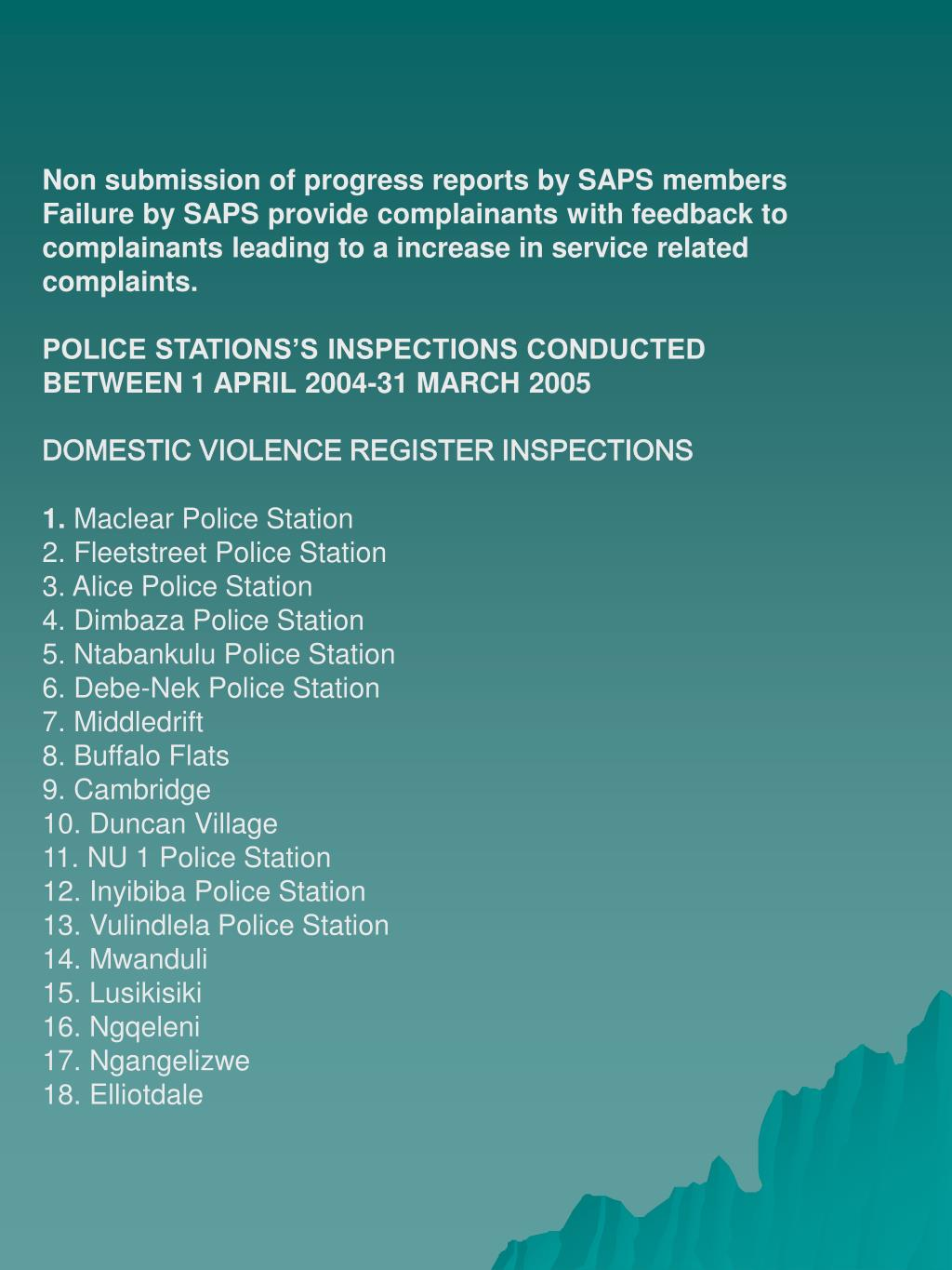 Non submission of progress reports by SAPS members
