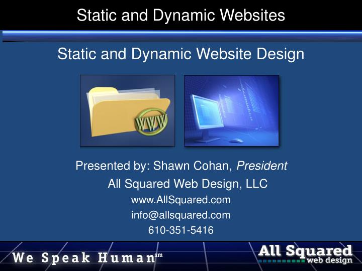 static and dynamic websites n.