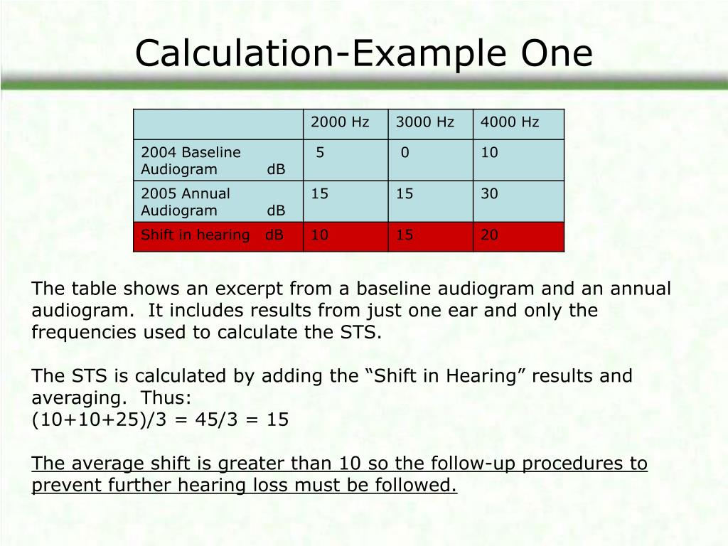 Calculation-Example One