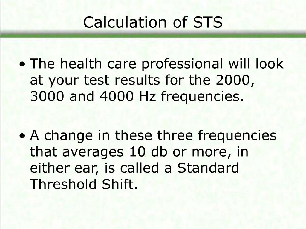 Calculation of STS