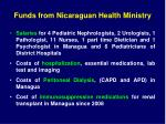 funds from nicaraguan health ministry