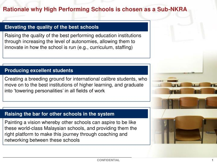 Rationale why high performing schools is chosen as a sub nkra