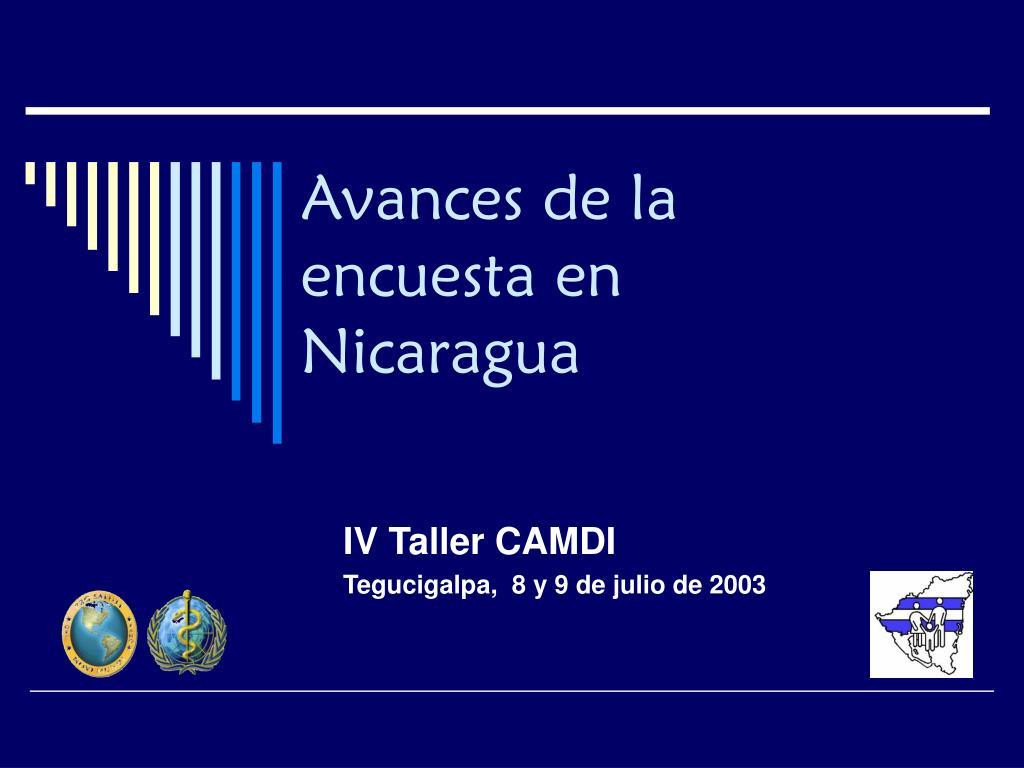 avances de la encuesta en nicaragua l.