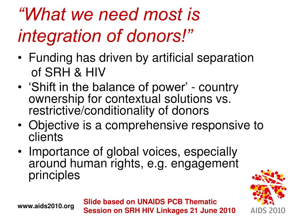 """""""What we need most is integration of donors!"""""""