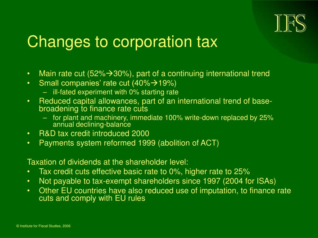 Changes to corporation tax