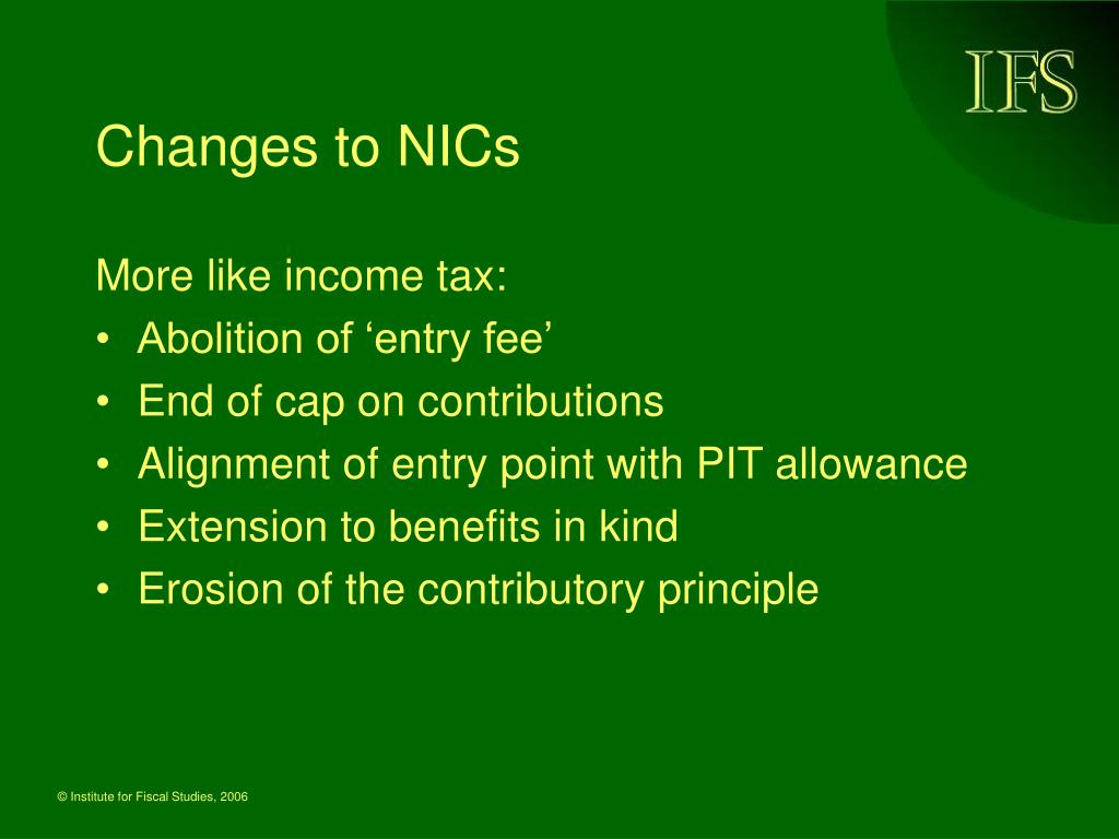 Changes to NICs