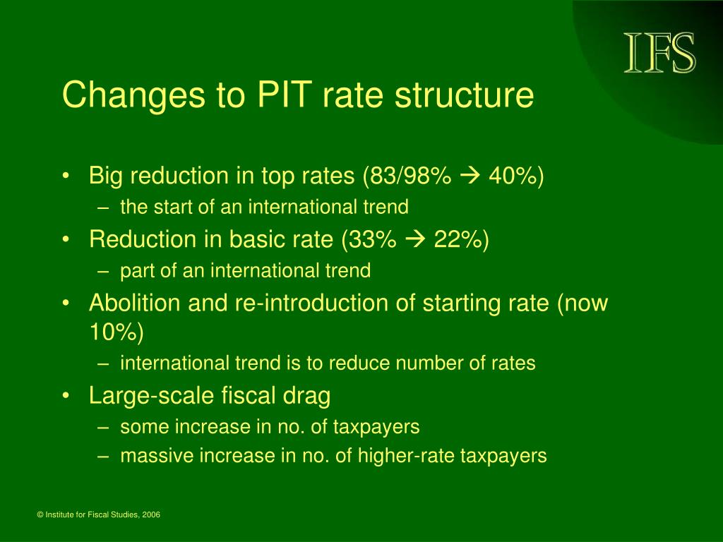 Changes to PIT rate structure