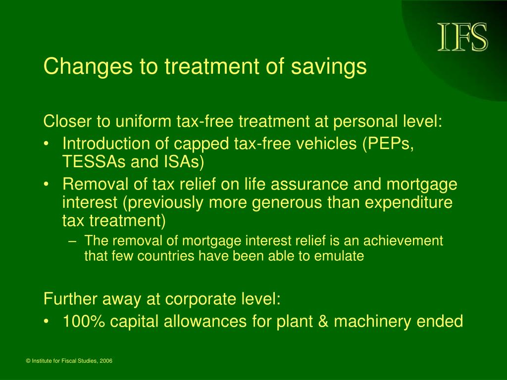 Changes to treatment of savings