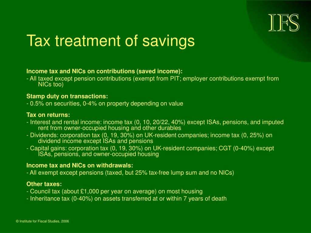Tax treatment of savings
