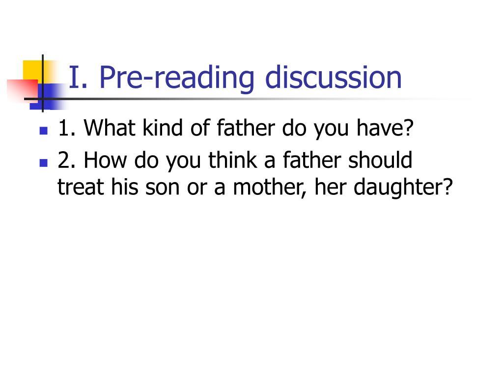 I. Pre-reading discussion