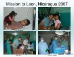 mission to leon nicaragua 2007