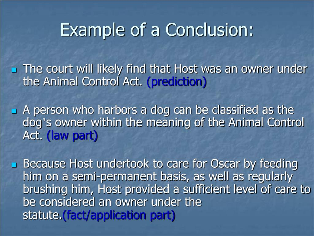 Example of a Conclusion: