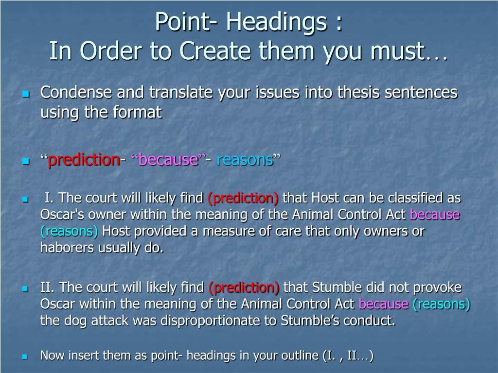 Point- Headings :