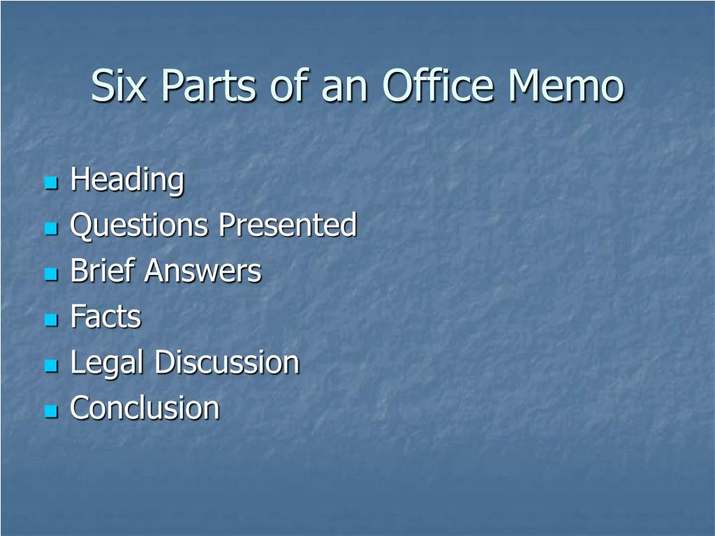 Six Parts of an Office Memo