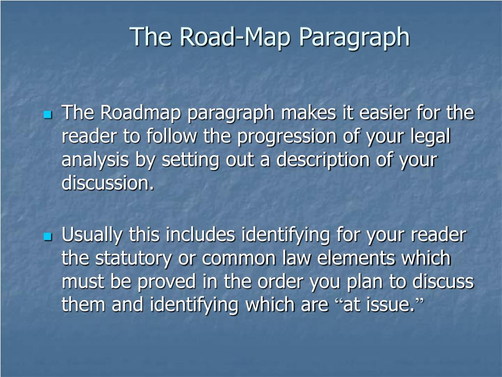 The Road-Map Paragraph