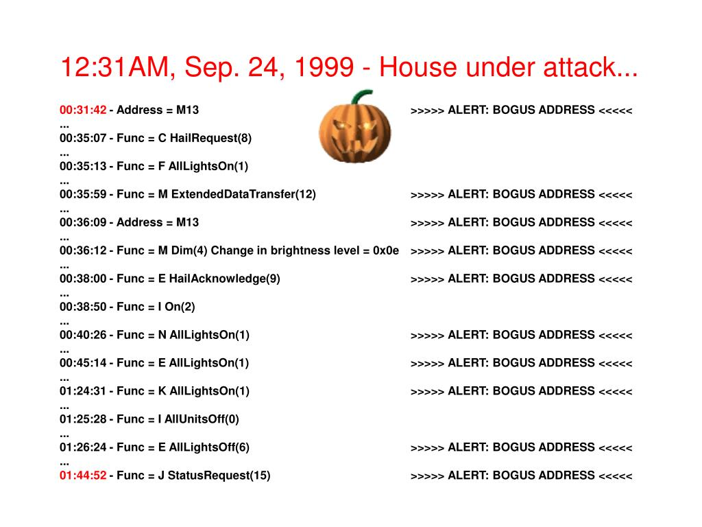 12:31AM, Sep. 24, 1999 - House under attack...