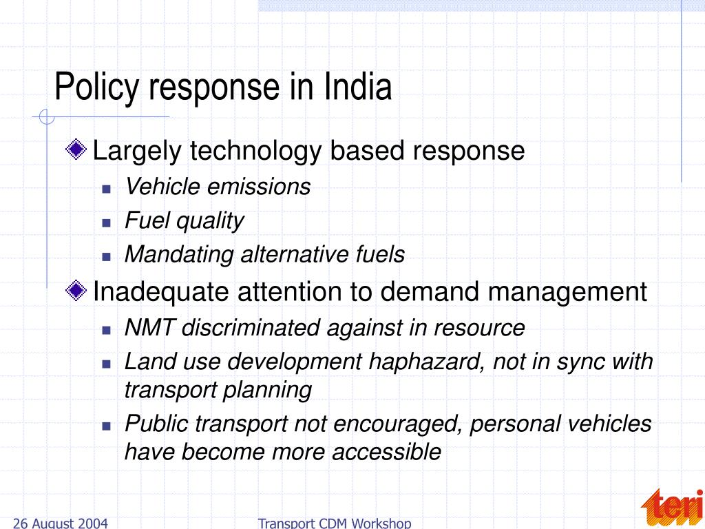 Policy response in India