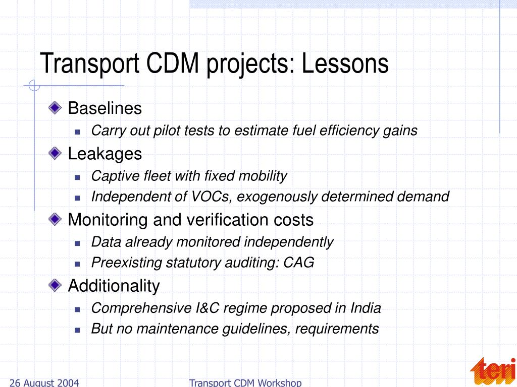 Transport CDM projects: Lessons