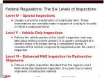 federal regulations the six levels of inspections6