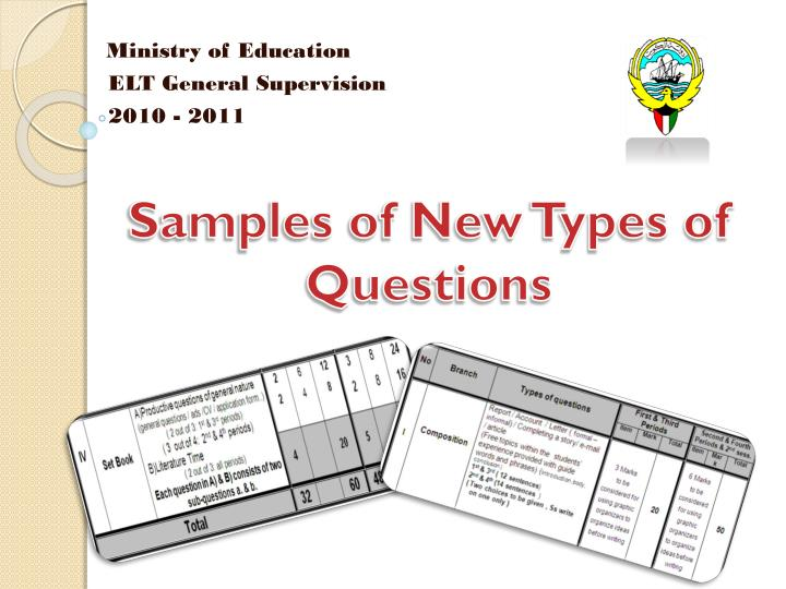 samples of new types of questions n.