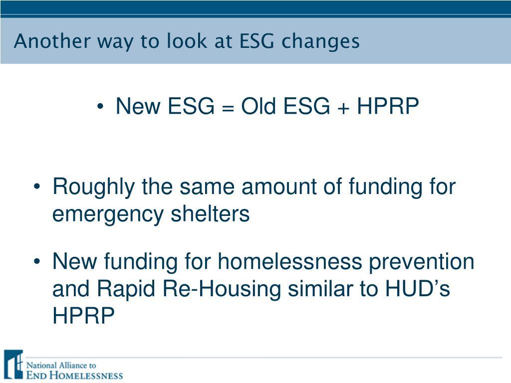 New ESG = Old ESG + HPRP