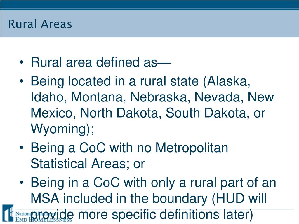Rural area defined as—