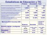 estad sticas de educaci n y tic