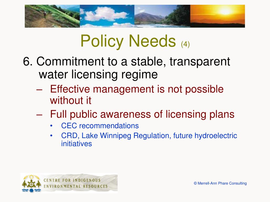 Policy Needs