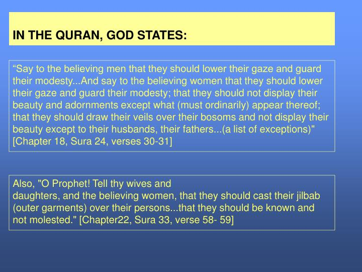 In the quran god states