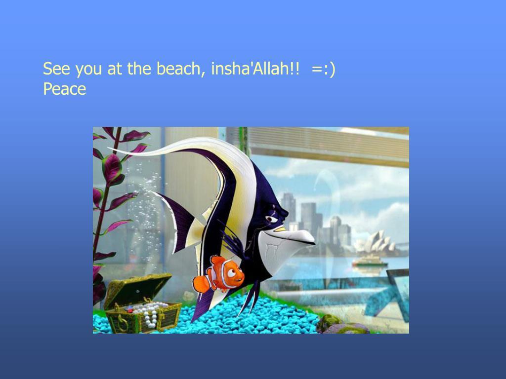See you at the beach, insha'Allah!!  =:)