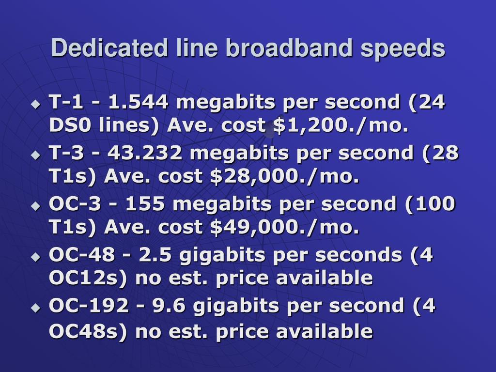 Dedicated line broadband speeds