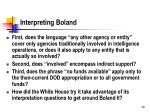 interpreting boland
