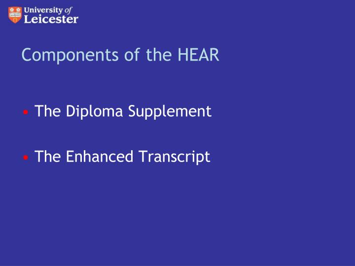Components of the hear
