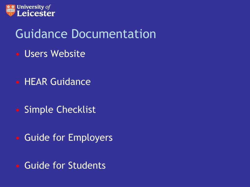 Guidance Documentation