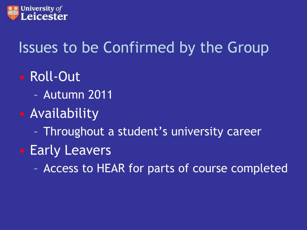 Issues to be Confirmed by the Group