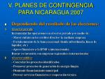v planes de contingencia para nicaragua 2007