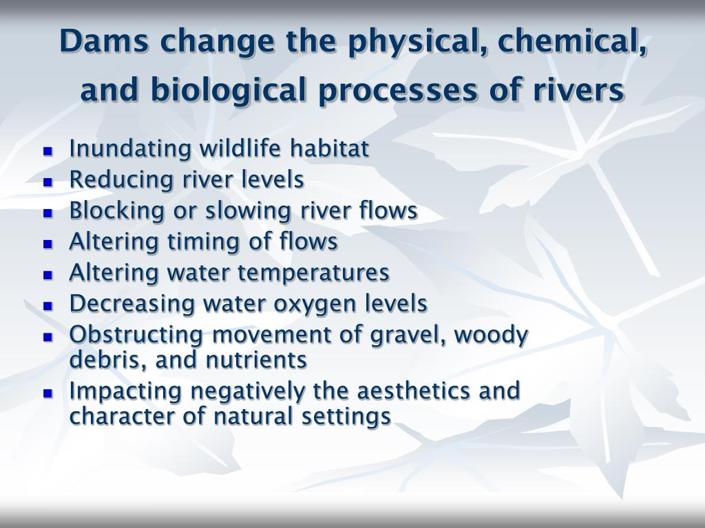 Dams change the physical, chemical, and biological processes of rivers