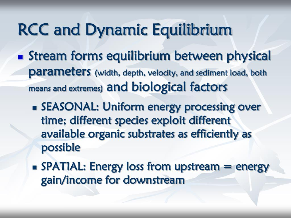 RCC and Dynamic Equilibrium