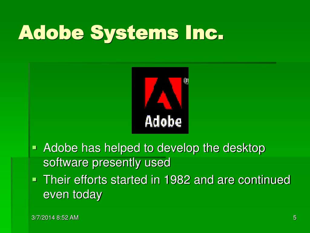 adobe systems incorporated Adobe systems was founded by john warnock and charles geschke in 1982 the founders were part of the research team at xerox corporation which they left to open their.
