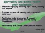 spirituality and mental health what mechanism