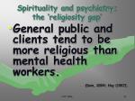 spirituality and psychiatry the religiosity gap