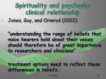 spirituality and psychosis clinical relationship23