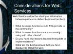 considerations for web services