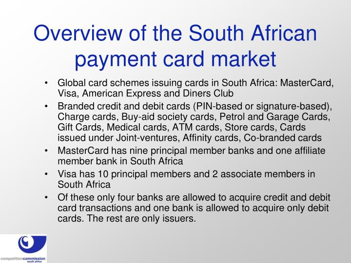 Overview of the south african payment card market