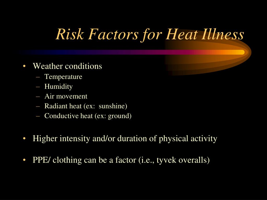 Risk Factors for Heat Illness