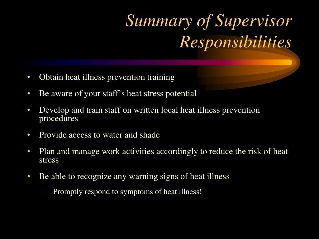 Summary of Supervisor Responsibilities